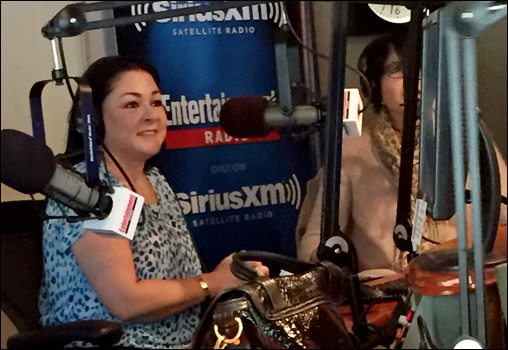 Sylvia at the mike for her interview with Entertainment Weekly at Sirius XM Studios