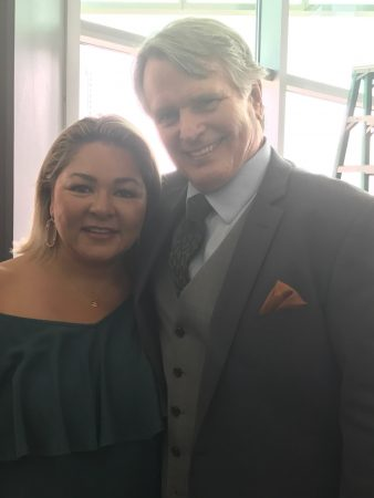 Sylvia with actor Gordon Thomson, who portrays Parker Rutledge.